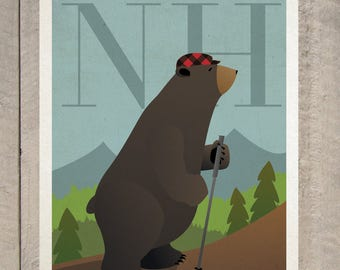HIKE Poster. Hiking Bear - New Hampshire - Vermont - Maine- Vintage Style Print.