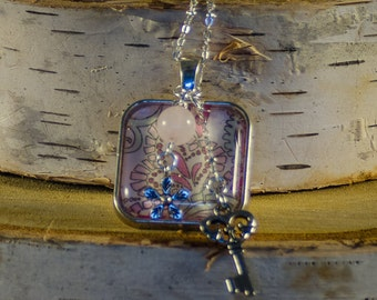 Antique Silver Square Glass Tile Necklace with Charms - Modern Pink and Green Design; Charm Necklace; Glass Tile Necklace