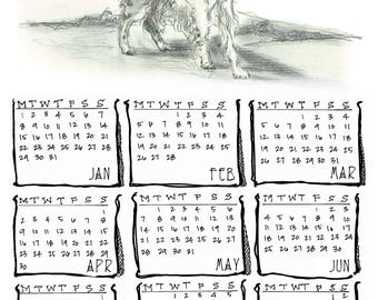 English Setter 2018 yearly calendar