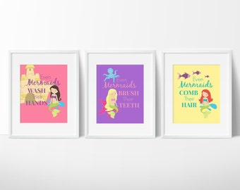Mermaid Bathroom Decor - Bathroom Rules - Girls Bathroom - Kids Bathroom - Kids Bathroom Art Set of 3 - Even Mermaids Wash Their Hands