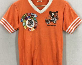 Vintage 80's BSA Boy Scouts Cub Scouts Tiger Cubs Ringer T-Shirt W/Patches Fits like an XS/S