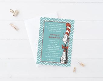 PRINTABLE INVITATION. Dr. Seuss Baby Shower Invitation. Cat in the Hat Baby Shower. Cat in the Hat Invitation. Dr. Seuss Baby Shower.