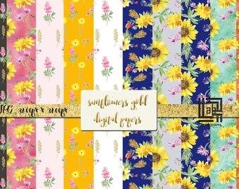 Sunflower digital paper collection. Yellow, deep orange, black, gold and green palette. Watercolor clipart Digital Design Resource