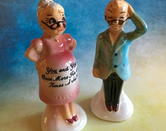 Vintage grandpa with a pregnant grandma salt and pepper shaker set