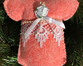 Wool Felt Venice Lace Onesie Ornament Hanger in Charming Coral
