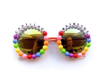 "Phish Halley's Comet ""Cadillac Rainbows"" Hand Decorated Sunglasses, Phish novelty gift, funky embellished shades with Phish lyrics"