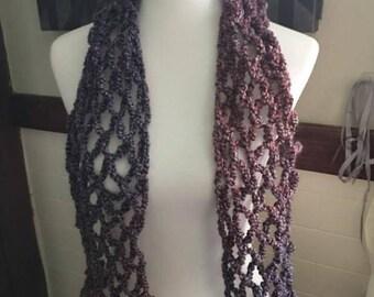 Lightweight netted purple handmade crocheted scarf