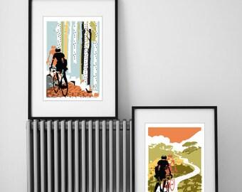 Cycling Print, Set of 2 Cycling Prints, Prints for Cyclists