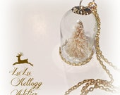 SNOW GLOBE FROSTED Christmas Tree Necklace