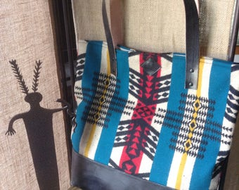Large Leather and Wool Totebag - Scorpio striped patterned wool