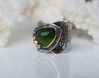 Green Aventurine Ring, Handmade Ring, One of a kind Ring, Green Stone Ring, Sterling Silver Ring and Gold Ring