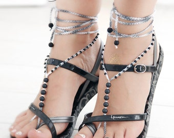 Black Grey Barefoot Sandals