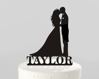 Wedding Cake Topper Kissing Silhouette Groom and Bride, with NAME - Acrylic Cake Topper [CT38kn]