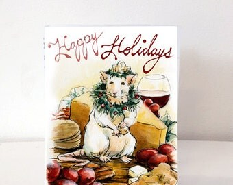 Holiday Card - Original Watercolor Illustration- Mouse King Food Wine Jolly Cute- Happy Holidays