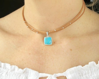 Choker Necklace Turquoise-Choker Necklace with Stone-Leather Choker Necklace-Turquoise Pendant-Choker Necklace with Turquoise Charm
