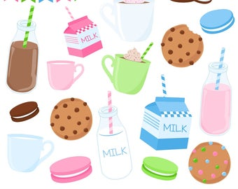 80% OFF SALE Cookie Clipart, Milk and Cookies, Milk Clipart, Digital Cookies, Chocolate Chip, Printable, Commercial Use