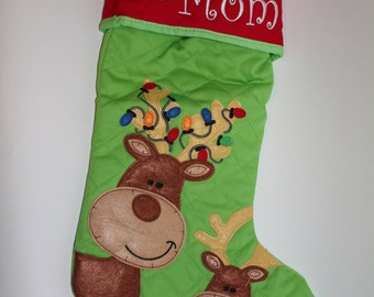 Personalized Christmas Stocking Reindeer Snowman Bear Tree Santa Dino Gingerbread Man Angel