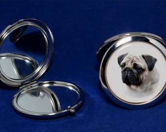 Pug 2-sided foldable pocket mirror. Great gift for any Pug owner and lover.
