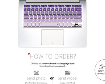 Asus Keyboard Stickers Laptop Skin Decal Acer Chromebook Dell Keyboard Stickers Lenovo Yoga HP Surface Book Toshiba Violet # Purple Ombre