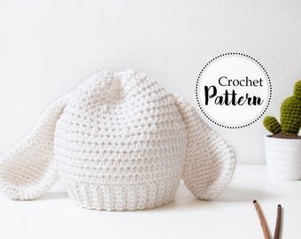 Lamb ears baby hat crochet pattern || baby photo prop || newborn to 12 months size || newborn crochet hat || baby crochet hat || Easter
