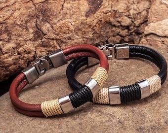 Mens Leather Bracelet, Metal Buckle Clasp, Mens Gift, Gift For Men, Boyfriend Gift, Birthday Gift JLA-15
