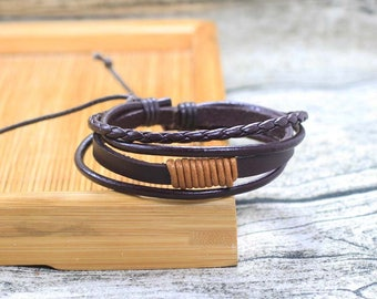 Leather and Hemp Bracelet Brown Cuff Adjustable Fashion Mens Wowens Braclet  BST-101