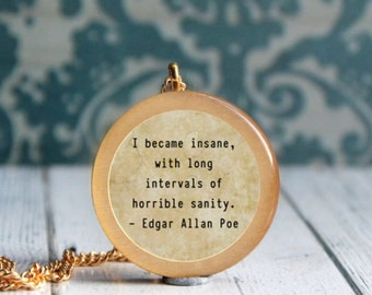 poe jewelry , literary quote , insanity quote , quote jewelry , edgar allan poe jewelry , librarian necklace , librarian gift