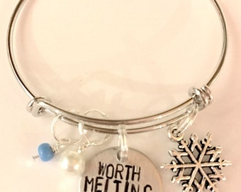 "Disney Frozen Inspired Hand-Stamped Bangle - ""Worth Melting For"""