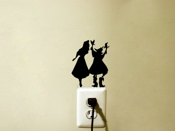 sleeping beauty velvet wall sticker light switch wall decal tinkerbell decal fairy silhouette velvet wall sticker kids