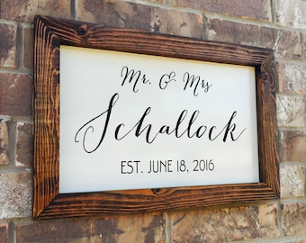 Personalized Wedding Sign, Wood Last Name Sign, Wedding Date Sign, Farmhouse Wall Decor, Unique Anniversary Gift, Last Name Established