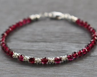 Garnet Beaded Bracelet With Silver Beads, Garnet Gemstone Bracelet, January Birthstone, Boho Stacking Bracelet, Valentine's Gift For Her