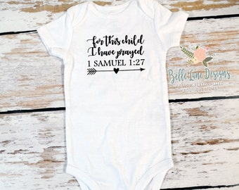 For This Child I Have Prayed Onesie | New Baby for Dad Family | Expecting Baby | Baby To Be | Pregnancy | Pregnancy Announcement | 147