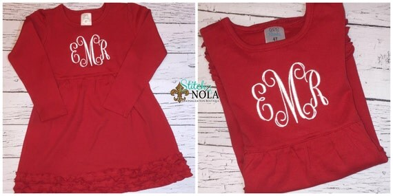 Monogrammed Long Sleeved  Red Ruffle Dress