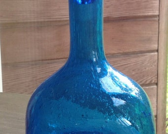 Hand blown turquoise carafe with bubbles