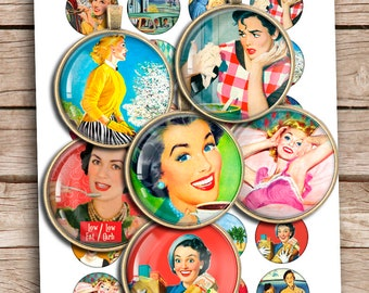 Retro Housewife 20mm 25mm 1inch 30mm 1.5 inch Printable Bottlecap images Pendant Images  Digital Collage Sheet Instant Download