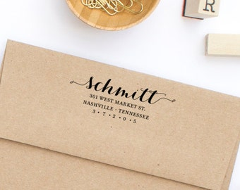 Return Address Stamp, Self-Inking Address Stamp, Wood Mounted Stamp, Wedding Stamp,  Personalized Stamp - Custom Address Stamp Style No. 74