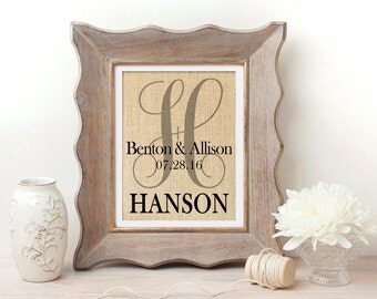 Burlap Print | Personalized Wedding Gift | Monogrammed Burlap Print | Wedding Gift for Couple | Engagement Gift | Bridal Shower Gift