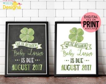 We're so lucky Pregnancy Announcement, Saint Patrick's Day Pregnancy Announcement, St. Patrick's Day, Sign, Chalkboard, Print, Digital File
