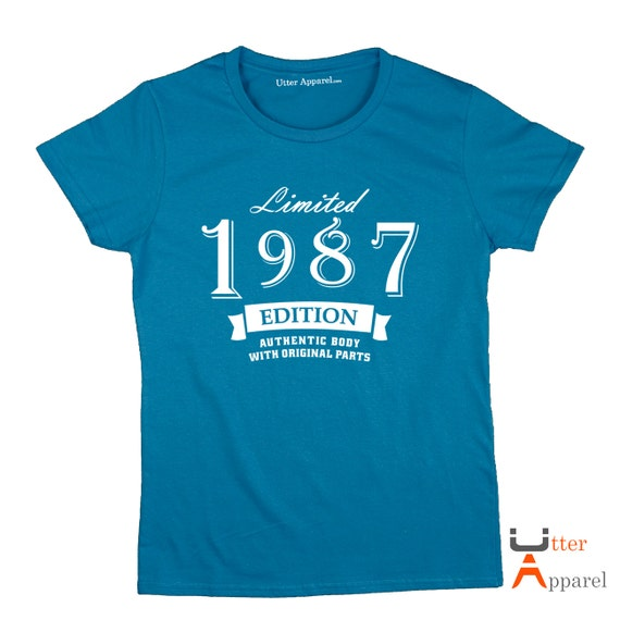 30th birthday gift for female 1987 limited edition crew neck t shirt best friend niece girlfriend wife