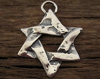 Artisan Handcrafted Star of David Religious Charm and Pendant in Sterling Silver (one) (C) (N)