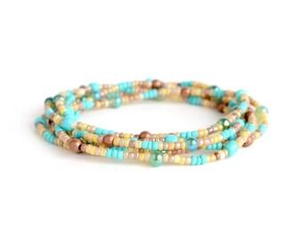 Blue seed bead wrap bracelet, boho style, elastic bracelet, tiny teal bead boho jewelry, boho chic jewelry, fashion trends, gift for her