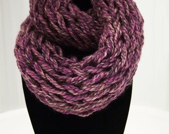 Purple Arm Knit Infinity Scarf