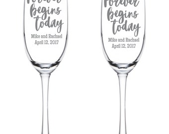 Forever Begins Today Flutes - Name and Date - Personalized - Wedding - Anniversary - Toasting Flutes - Etched - Glasses