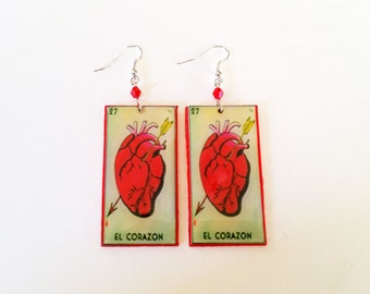 El Corazon earrings- loteria earrings, corazon earrings, la loteria