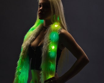 Glowing Aninmated LED Fur BOA -  Light Up Scarf