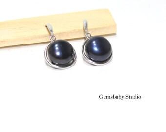 Black Pearl Earrings/Black pearl jewelry/Freshwater Pearl earring/Freshwater pearl jewelry/pearl earring/gift for mom/Christmas jewelry gift