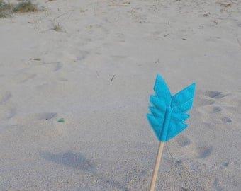 Blue Felt Arrow SUNDANCE Pencil Topper, Blue Arrow, Vegan