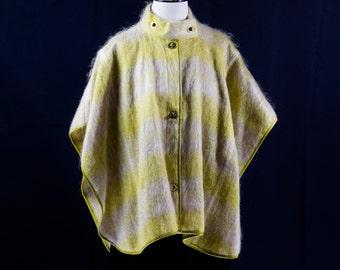 Chartreuse Mohair Plaid Capelet / Poncho by Bonnie Cashin