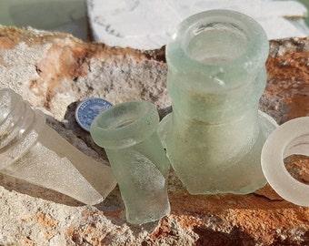 FROSTED BOTTLE NECKS ~ Sea Glass ~ Beach Glass ~ Sea Foam & White ~ Thames ~ Mudlarking