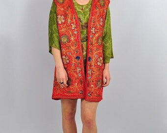 Vintage Red Embroidered Hippy Boho Waistcoat